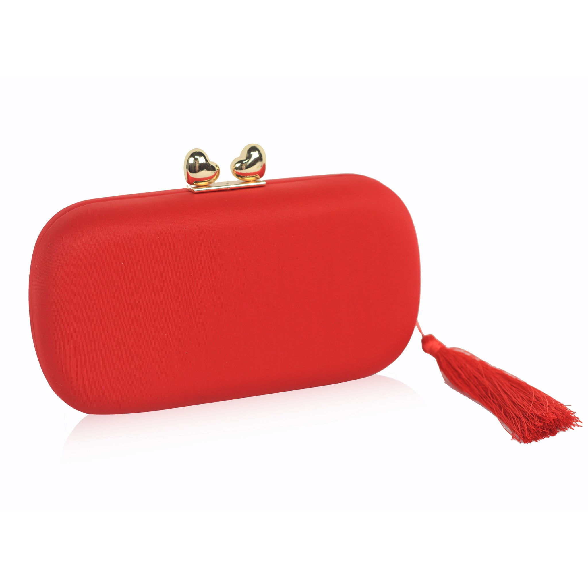 Double Heart Tassel Clutch - Red
