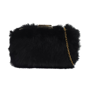 Fur Clutch - Black