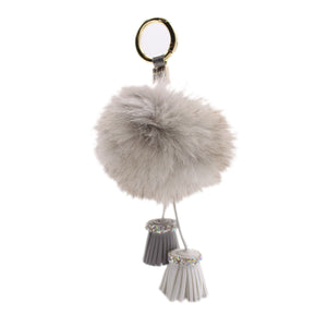 Bobble Tassel Keychain - Grey