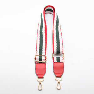 Stripes Canvas Shoulder Bag Strap - Red