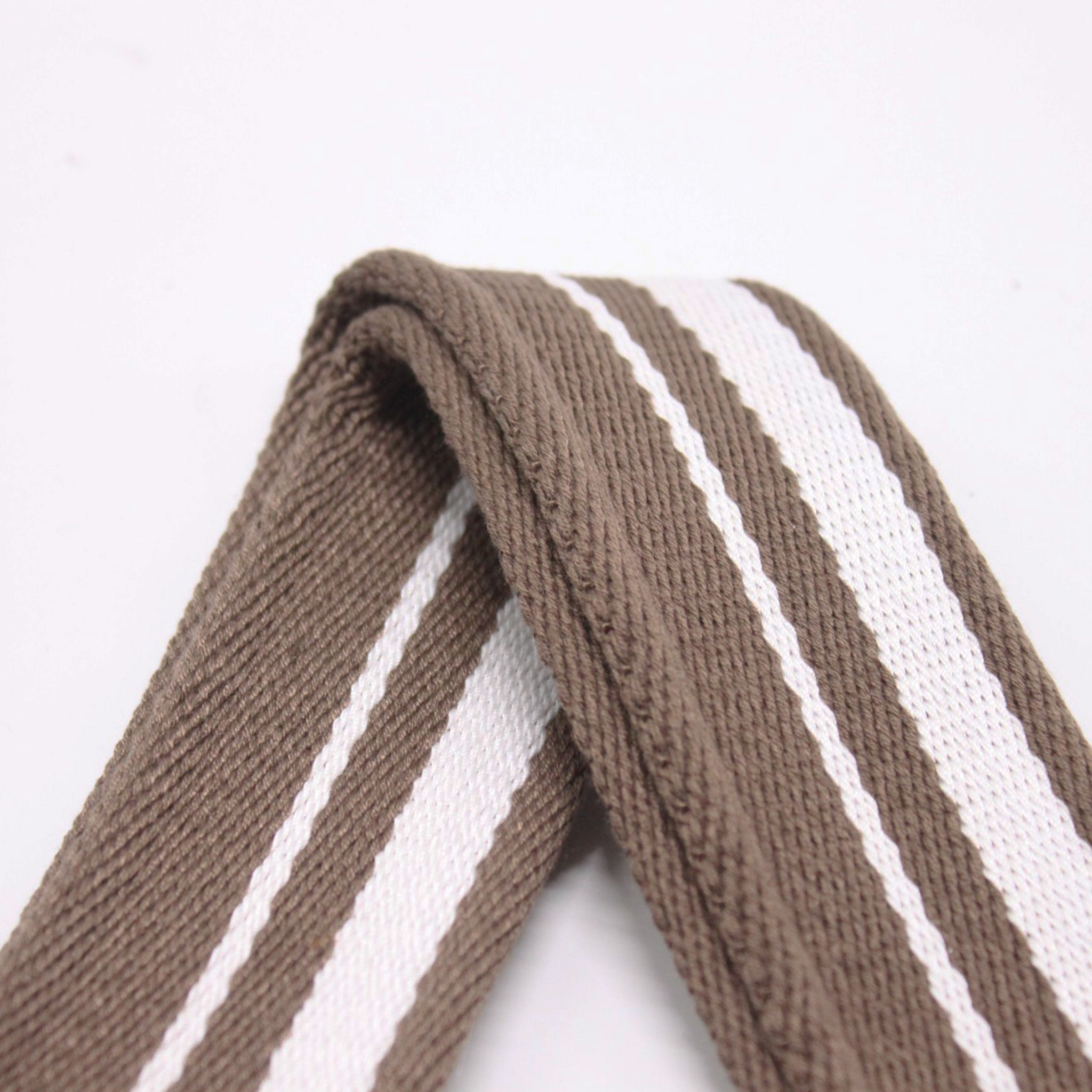 Stripes Canvas Shoulder Bag Strap - Brown White