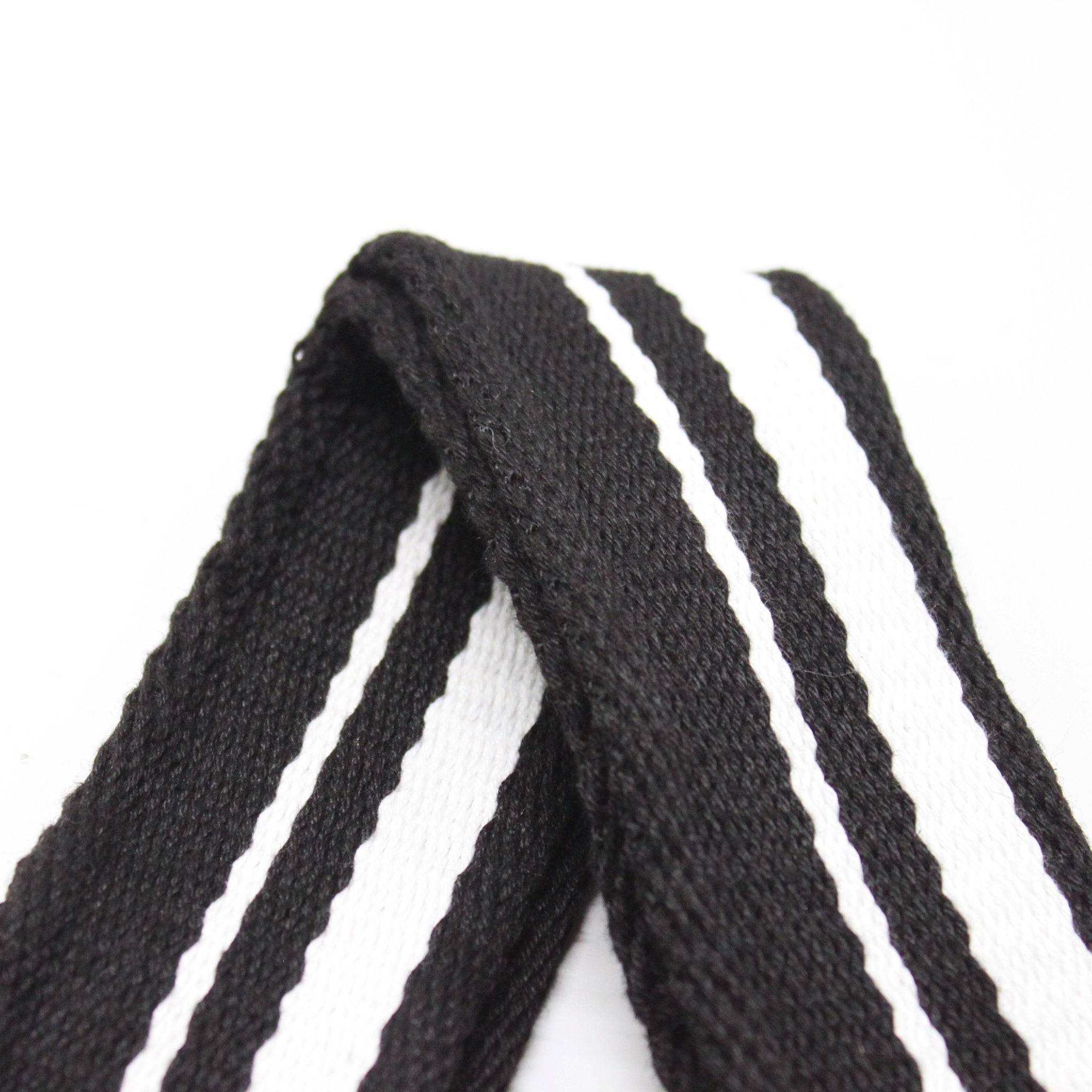 Stripes Canvas Shoulder Bag Strap - Black White