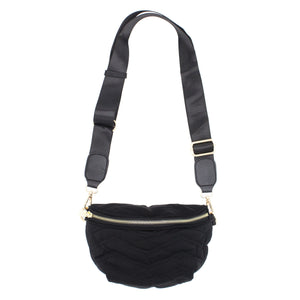 Quilted Nylon Sling Bag - Black