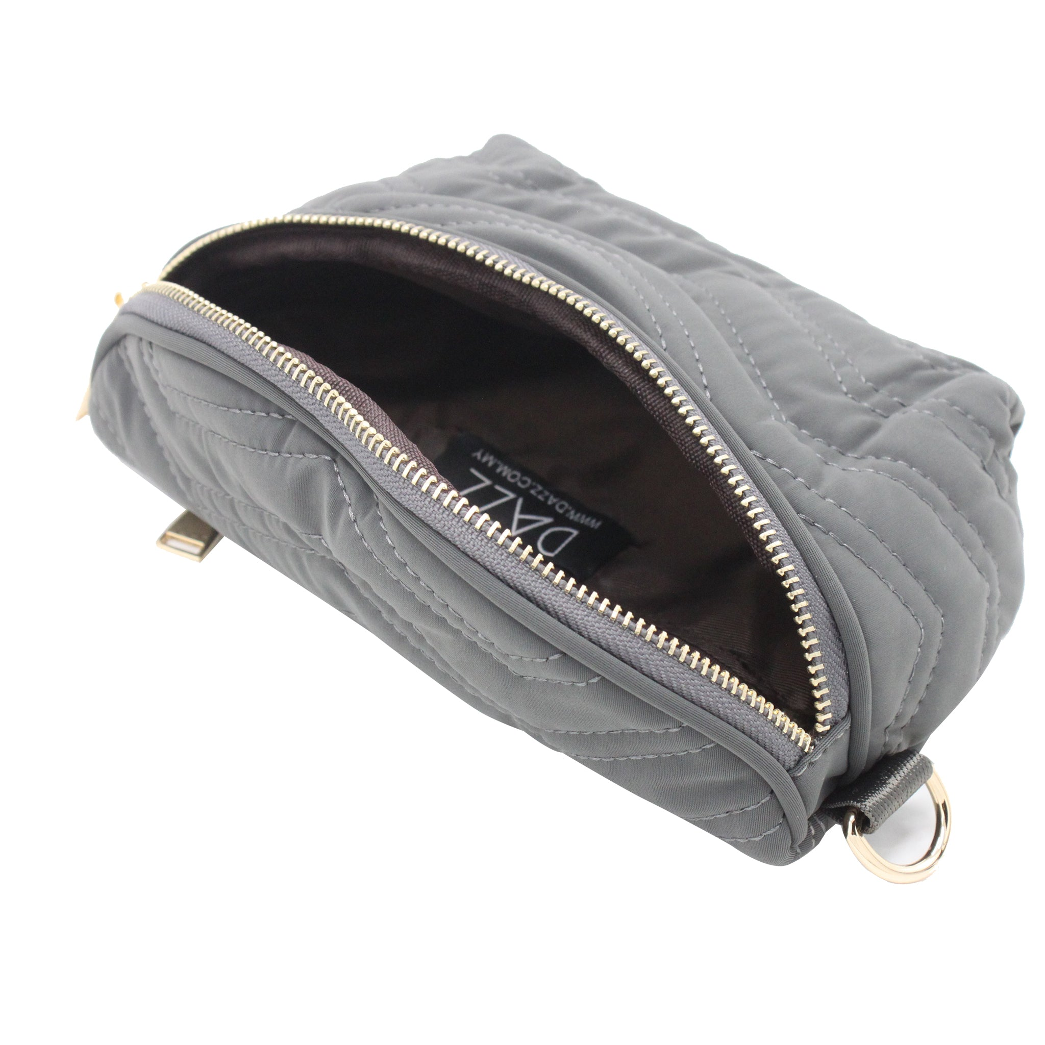 Quilted Nylon Sling Bag - Grey