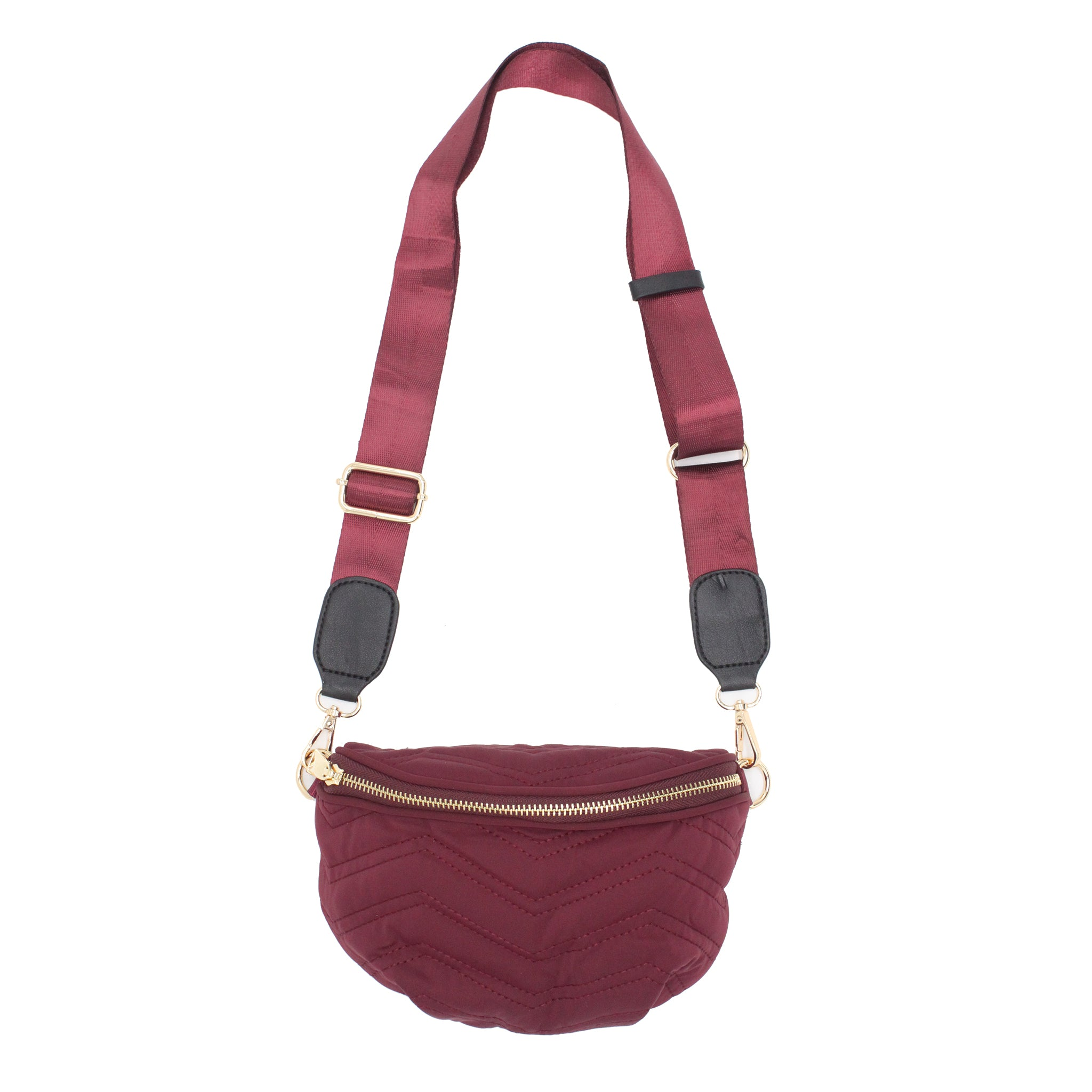 Quilted Nylon Sling Bag - Red