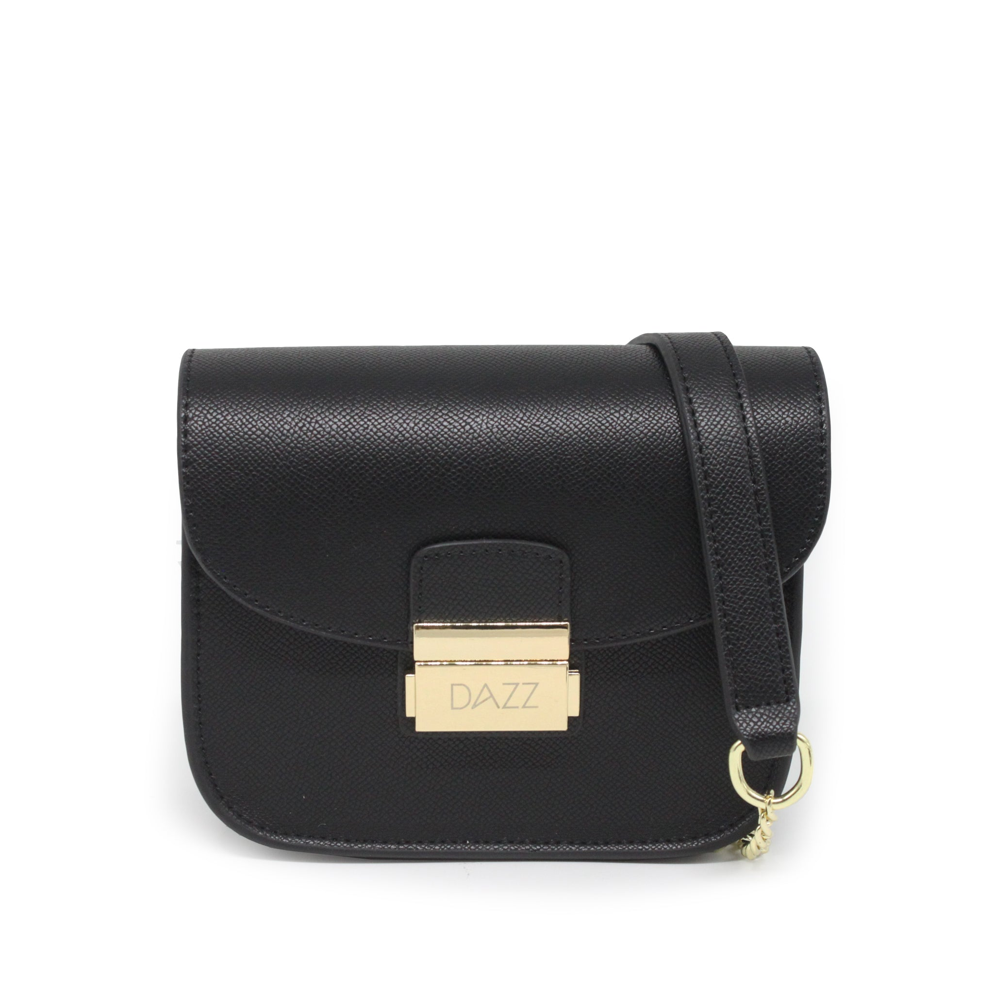 Interchangeable 2-Flaps Crossbody Bag - Black