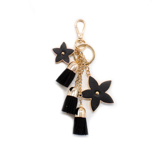 Pointed Flower Keychain - Black