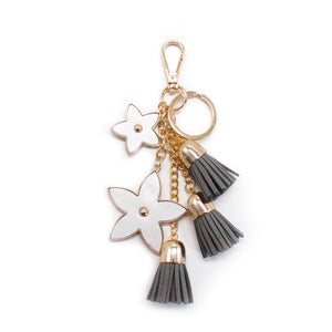 Pointed Flower Keychain - Silver