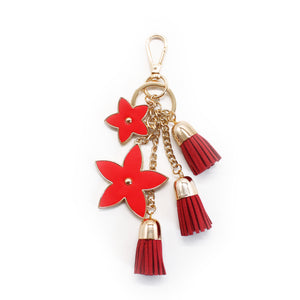Pointed Flower Keychain - Red