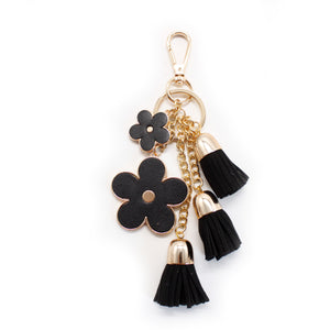 Rounded Flower Keychain - Black