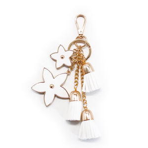 Pointed Flower Keychain - White