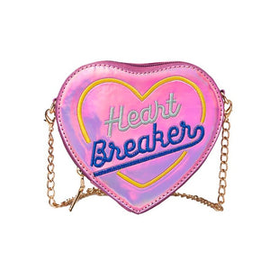 Holographic Heart Breaker Bag - Pink