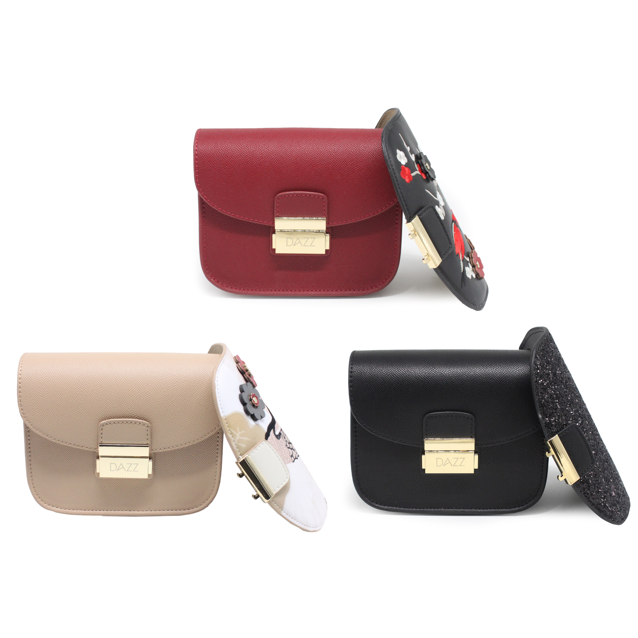 Interchangeable 2-Flaps Crossbody Bag - Red/Nude/Black