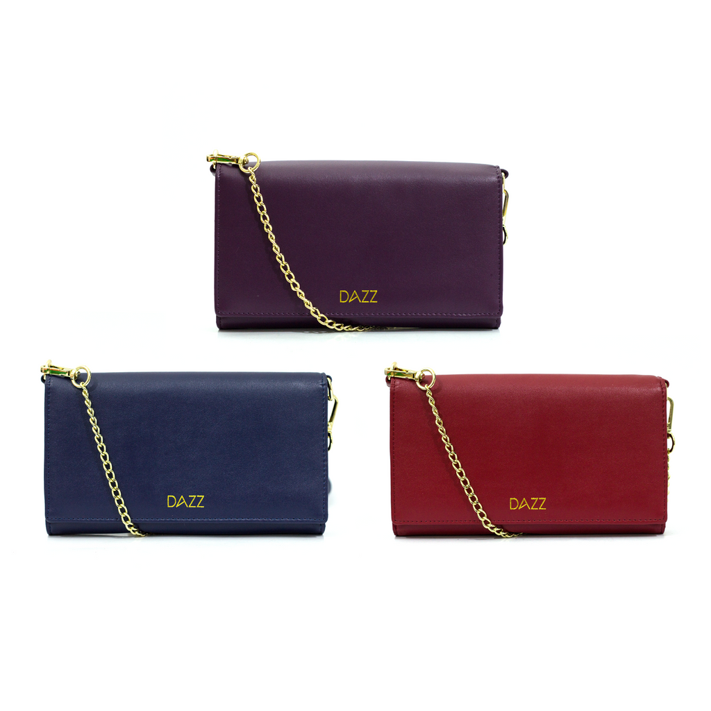 On the Go RFID Crossbody Bag by DAZZ - Plum Purple/Midnight Blue/Ruby Red