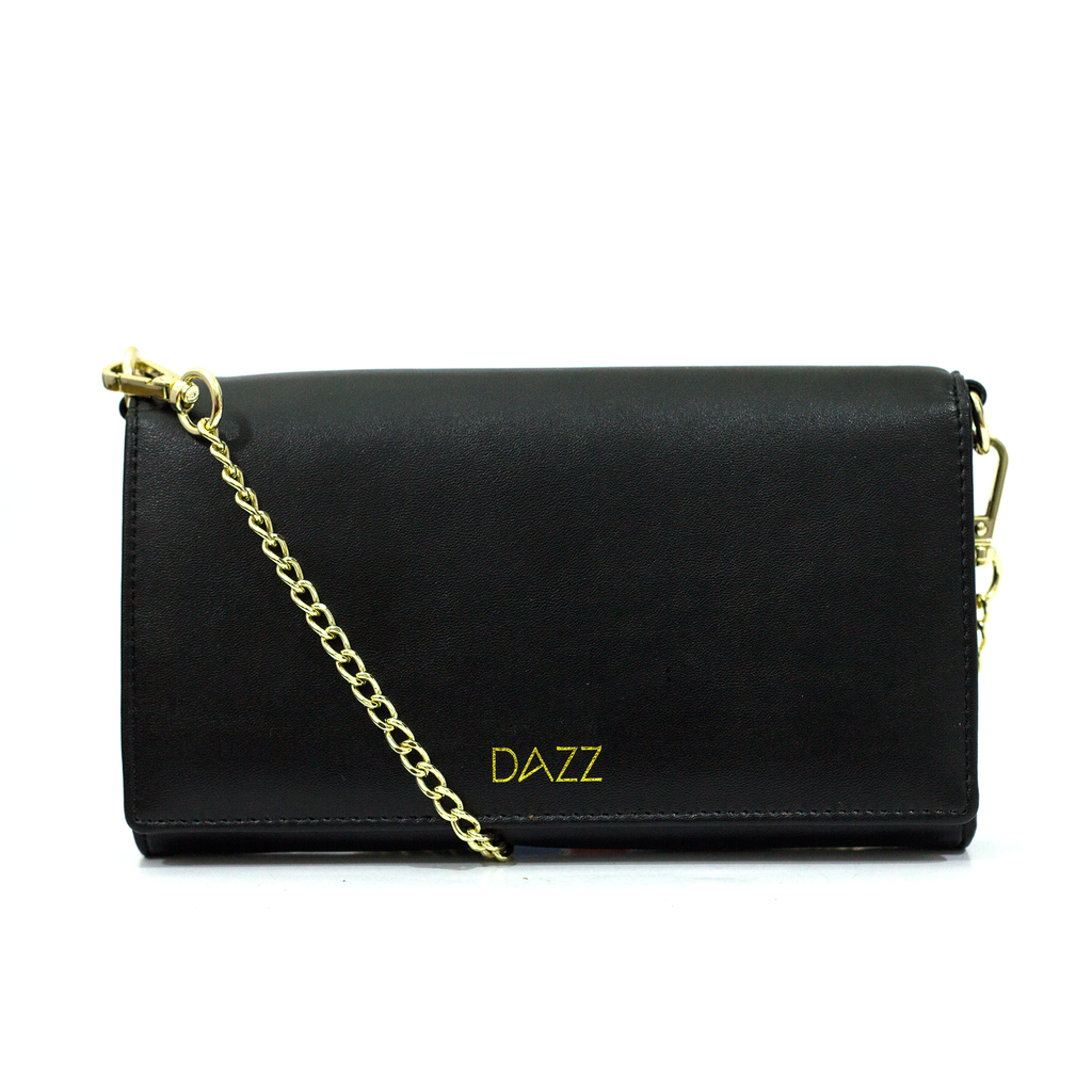 On the Go 'Brilliant Black' Crossbody Bag by DAZZ
