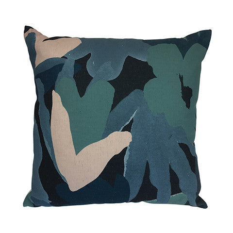 Cushion Abstract Floral Blush/Blue