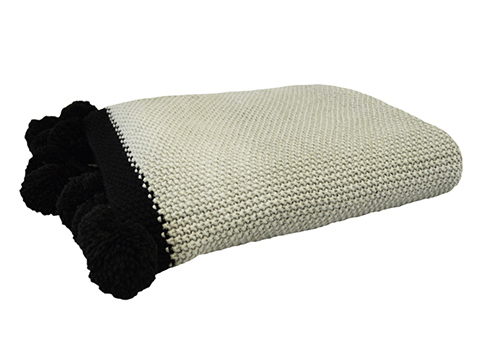 Element light grey Pom Pom throw