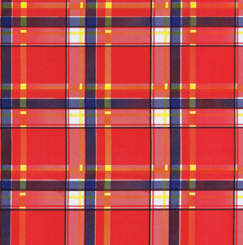 Red Tartan Oilcloth Fabric