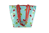 Reversible Oilcloth Totebag - Turquoise Cherry