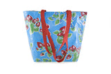 Reversible Oilcloth Totebag - Light Blue Strawberry