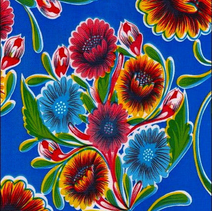 Royal Blue Springbloom Oilcloth Fabric