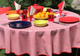 "70"" Round Red Gingham Oilcloth Tablecloth"
