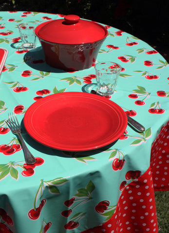 Round Turquoise Cherry with White on Red Polka Borders Oilcloth Tablecloth
