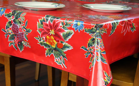 Red Vintage Christmas Oilcloth Tablecloths
