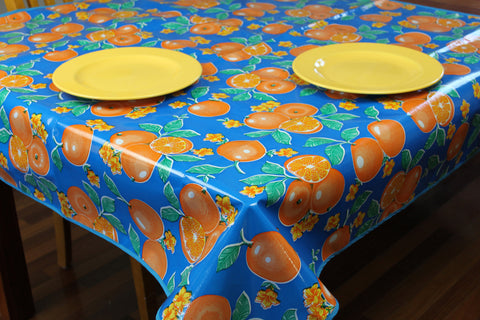 Blue Oranges Oilcloth Tablecloths