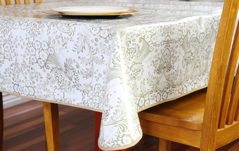 Gold Toile Oilcloth Tablecloths