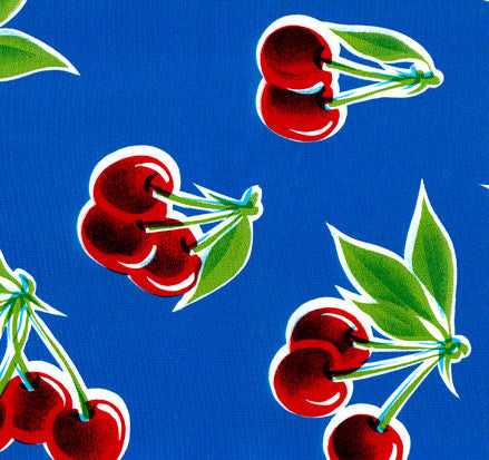 Blue Cherry Oilcloth Fabric
