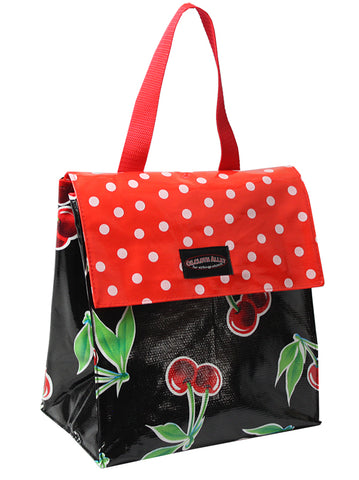 Oilcloth Insulated Lunch Bag - Black Cherry