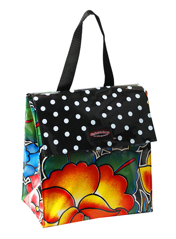 Oilcloth Insulated Lunch Bag - Royal Roses in Black