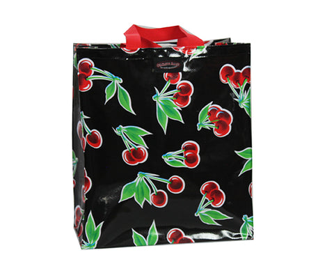 Oilcloth Shopping Bag - Black Cherry