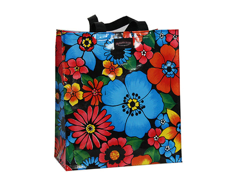 Oilcloth Shopping Bag - Black Flora