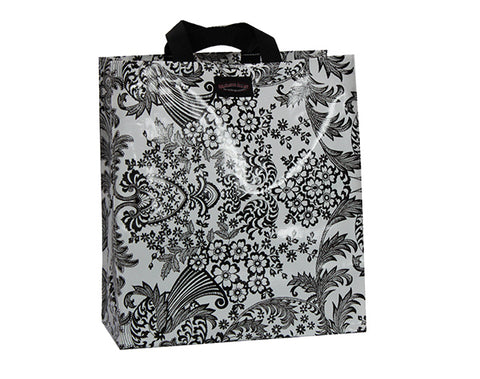 Oilcloth Shopping Bag - Black and White Toile