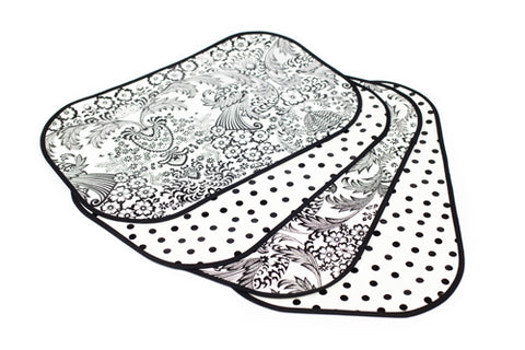 Black and White Toile Reversible Oilcloth Placemats - set of 4