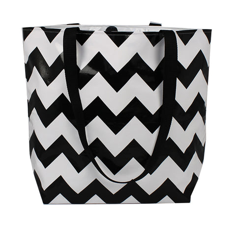 Reversible Oilcloth Totebag - Black Chevron with Black Confetti