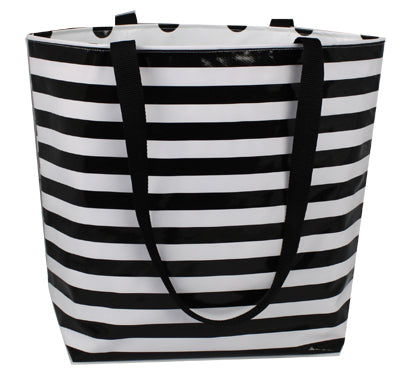 Reversible Oilcloth Totebag - Black Stripes with Black Confetti