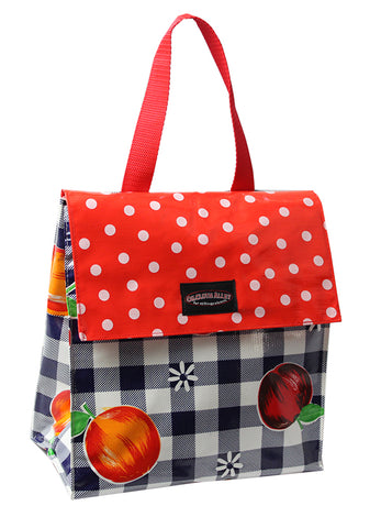 Oilcloth Insulated Lunch Bag - Blue Cafe Check with Fruit