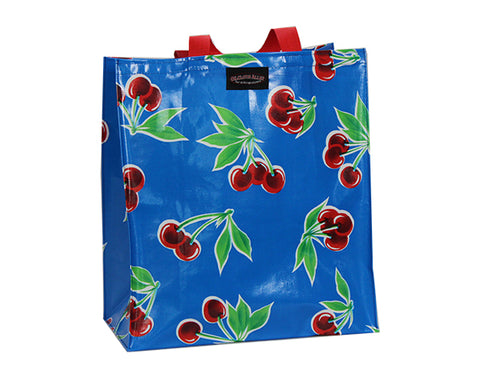 Oilcloth Shopping Bag - Blue Cherry