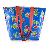 Reversible Oilcloth Totebag - Blue Cherry