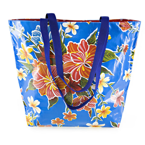 Reversible Oilcloth Totebag - Blue Hibiscus