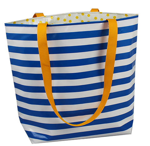 Reversible Oilcloth Totebag - Blue Stripes with Yellow Polka