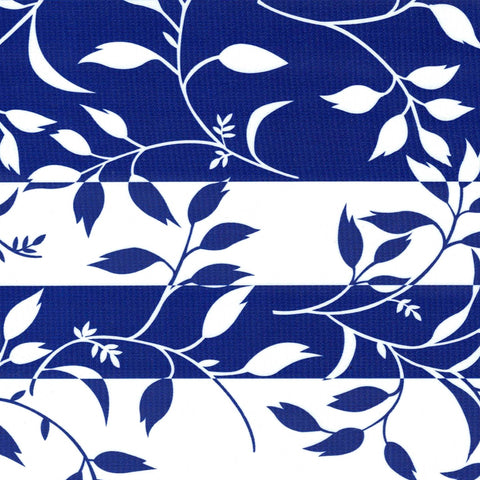 Blue Spanish Vines Oilcloth Fabric
