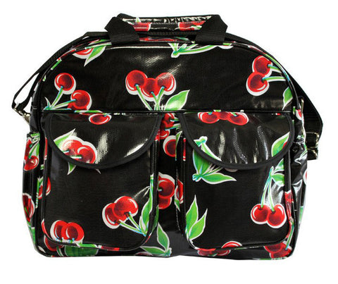 Oilcloth Carryall Bag - Black Cherry
