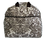 Oilcloth Carryall Bag - Black and White Toile
