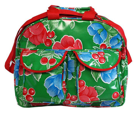Oilcloth Carryall Bag - Green Poppy