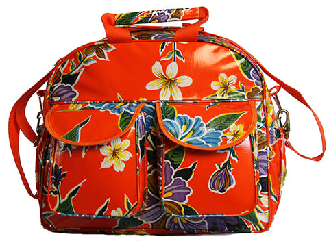 Oilcloth Carryall Bag - Orange Hibiscus