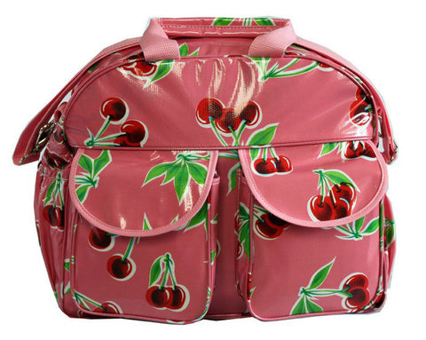 Oilcloth Carryall Bag - Pink Cherry